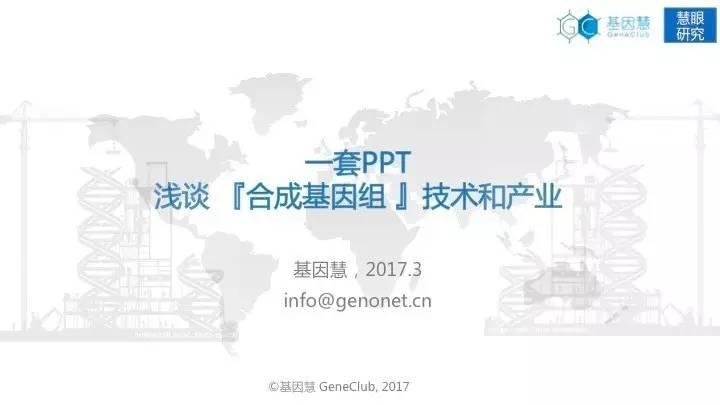 技术 | 一套PPT浅谈合成基因组技术和产业