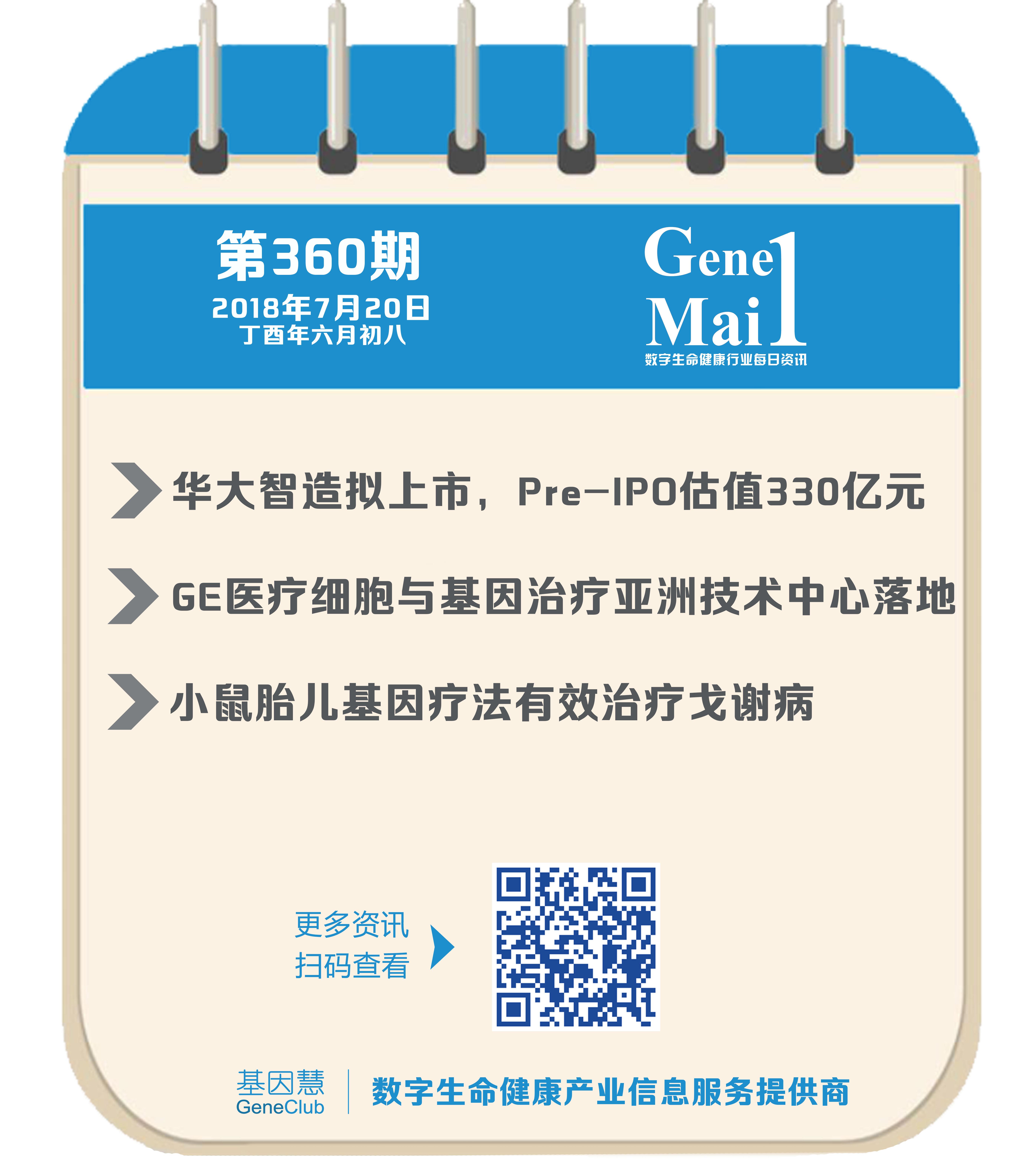 GeneMail | 华大智造拟上市;GE医疗成立上海细胞治疗与基因治疗技术中心