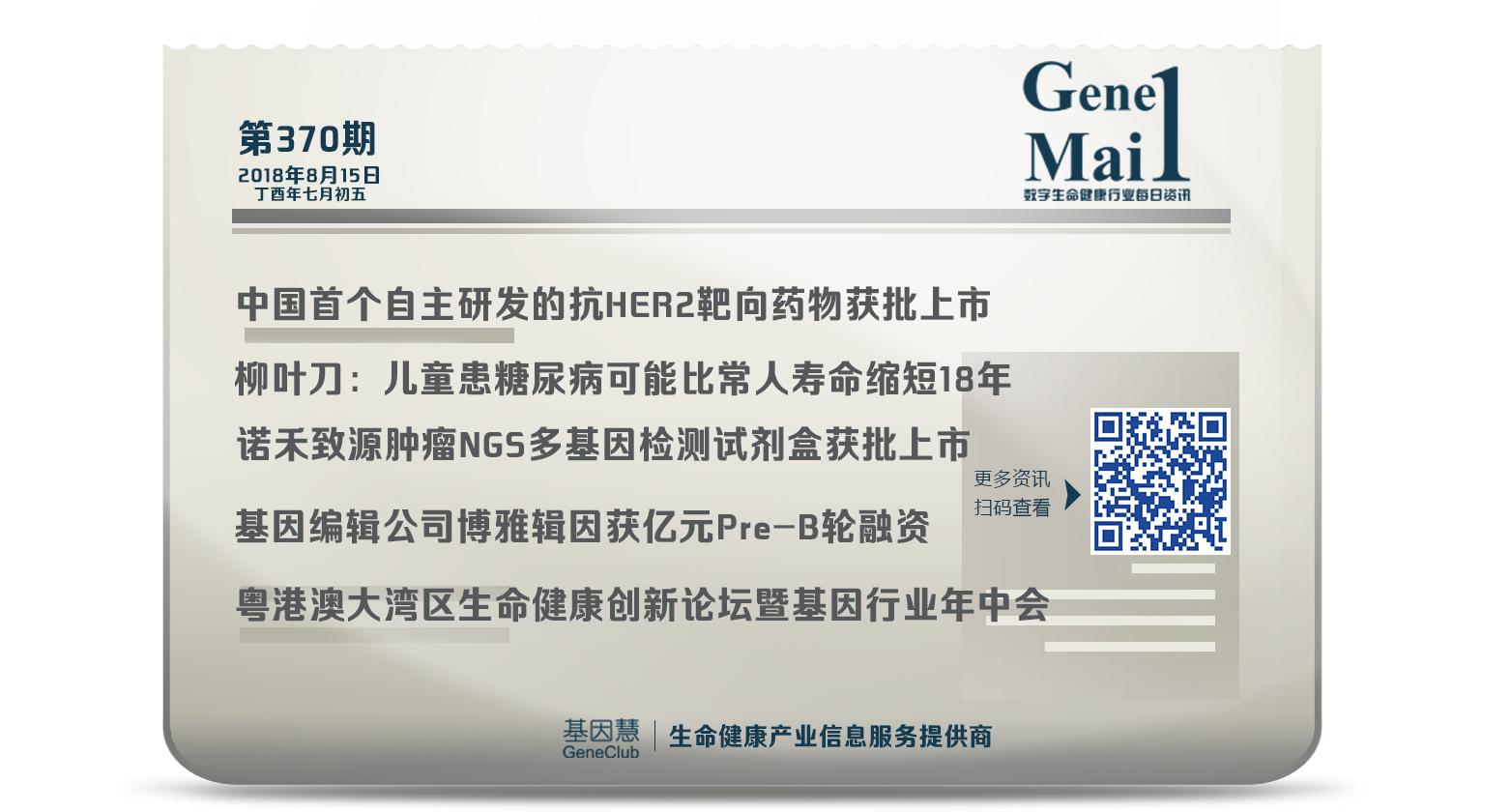GeneMail | 中国首个自主研发的抗HER2靶向药获国家药监局批准上市
